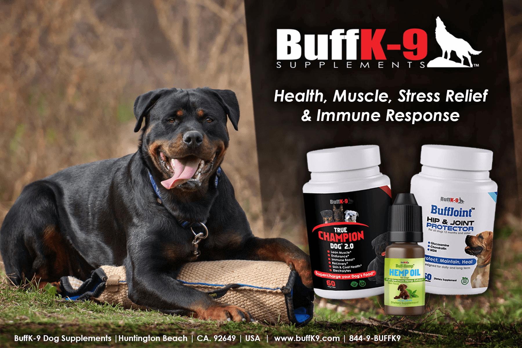 buffk9 dog supplements hemp cbd oil joint health stress endurance